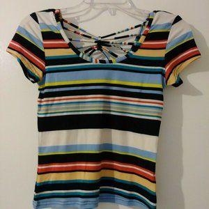 Derek Heart Juniors Multicolor Striped S/Sleeve
